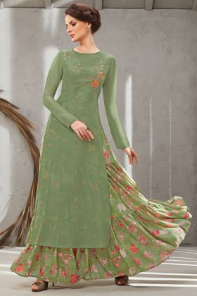 Execellent Olive Green Color Poly Organdy Gown Online
