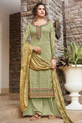 Execellent Pastel Green Color Tussar Art Silk Salwar Suit