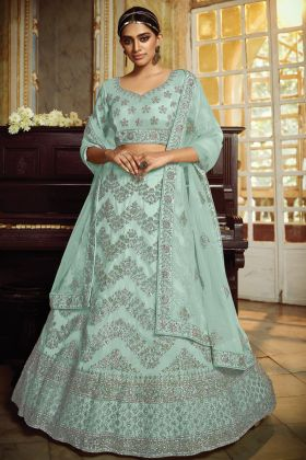 Extraordinary Sky Blue Soft Net Fabricated Bridal Lehenga Choli Collection 2021