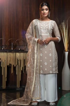 Eye Catching Beige Color Georgette Salwar Suit