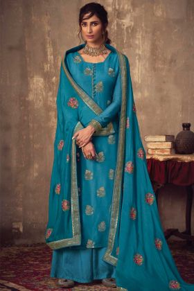 Eye Catching Blue Jacquard Silk Party Wear Salwar Suit