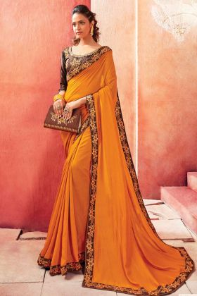 Eye Catching Chanderi Silk Yellow Colored Party Wear Saree
