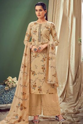 Eye Catching Cream Pure Wool Pashmina Designer Suit