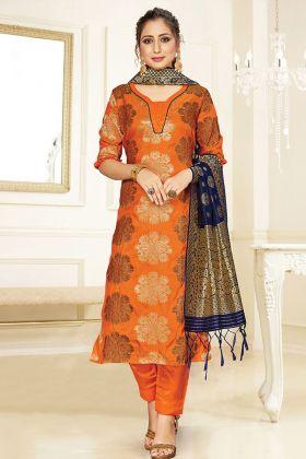 Eye Catching Orange Banarasi Art Silk Party Wear Salwar Suit
