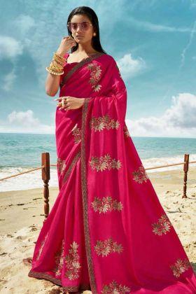 Eye Catching Rani Pink Soft Art Silk Saree With Blouse Design