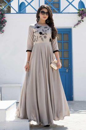 Eye-Catching Cream Colored Partywear Viola Silk Gown With Resham Work