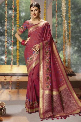 Eye Catching Maroon Color Banarasi Silk Saree With Thread Embroidery Work Blouse