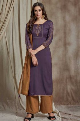 Fabulous Purple Resham Embroidery Wedding Soft Silk Straight Suit In Purple Color