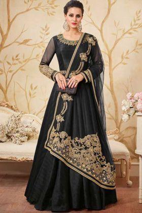 Fabulous Reception Wear Embroidered Silk Floor Length Anarkali Dresses Black Color