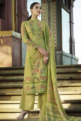 Fancy Collection Of Digital Printed Green Palazzo Suit In Cotton