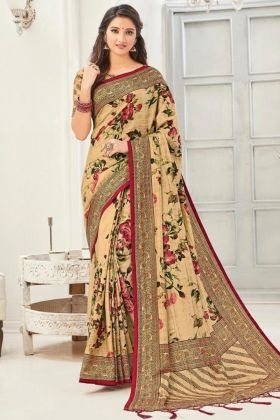 Fancy Cream Color Kanjivaran Silk Saree By Online Shopping