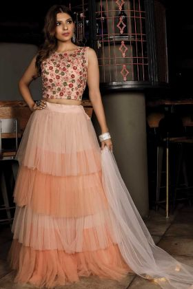 Fancy Designer Party Wear Peach Color Lehenga Choli