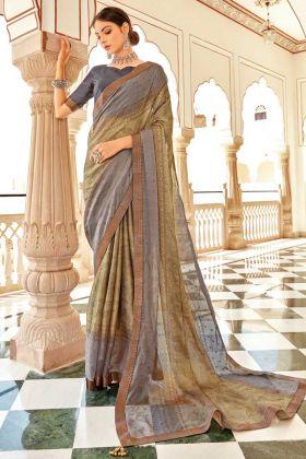 Fancy Designing Grey Color Brasso Silk Saree Collection
