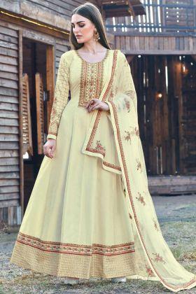 Fancy Embroidered Dola Silk Cream Color Anarkali Dress For Wedding