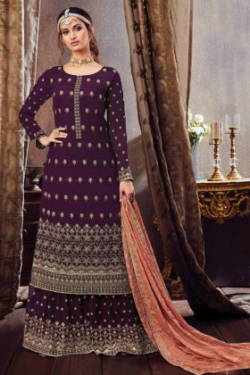 Fancy Embroidered Georgette Pakistani Style Sharara Suit In Purple Color