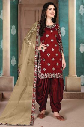Fancy Embroidered Wedding Panjabi Red Color Heavy Salwar Dress