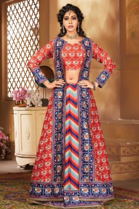 Fancy Hand Work Silk Print Lehenga Style Suit In Multi Color