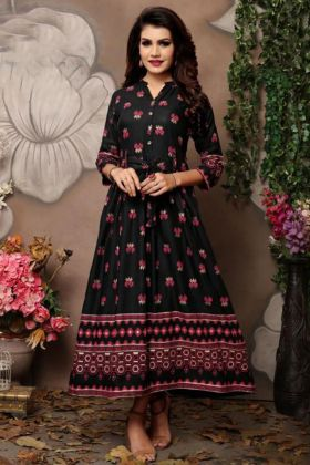 Fancy Kurti Design Black Color In Foil Block Print