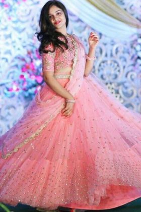Fancy Light Pink Net Lehenga Choli With Sequence Work