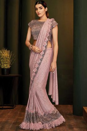 Fancy Lycra Traditional Party Wear Sarees