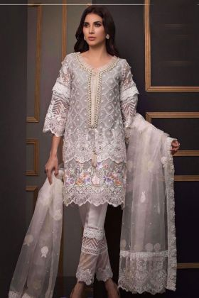 Fancy Net White Pakistani Salwar Suit with ButterFly Net Dupatta and Santoon Inner and Bottom