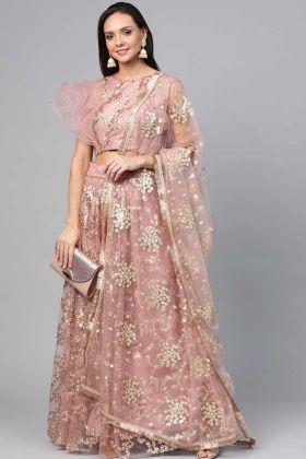 Fancy Party Wear Dusty Pink Net Lehenga Choli