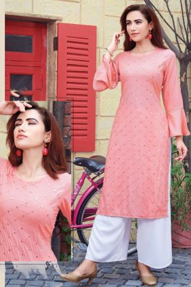 Fancy Pink Rayon Kurti With Slub Cotton Palazzo