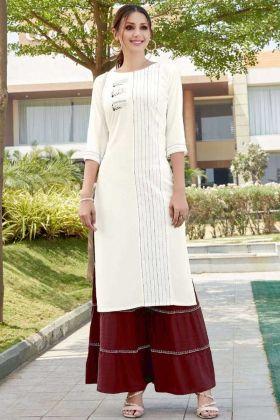 Fancy Readymade Heavy Rayon White Kurti And Maroon Sharara Suit