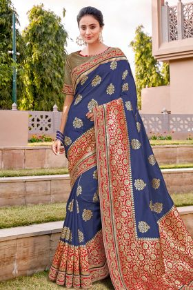 Fancy Saree Blue Weaved Silk With Chiku Blouse Pattern