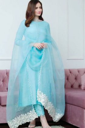 Fancy Thread Work Blue Colour Pant Salwar Suit Online
