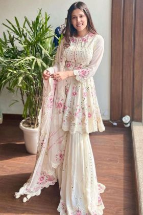 Fancy White 60 GM Georgette Mirror Work Sharara Salwar Suit With Digital Print Dupatta