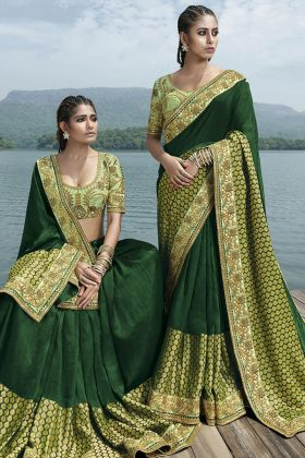 Fancy Art Silk Green Festive Saree