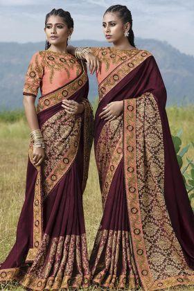 Fancy Art Silk Wine Festive Saree