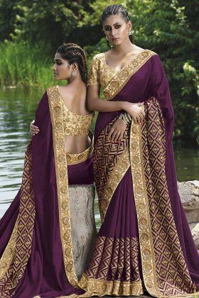 Fancy Art Silk Purple Wedding Saree