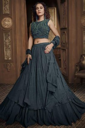 Fancy Blouse With Teal Green Party Wear Lehenga Design