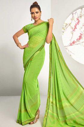 Fancy Brocade Lace Georgette Saree Parrot Green Color