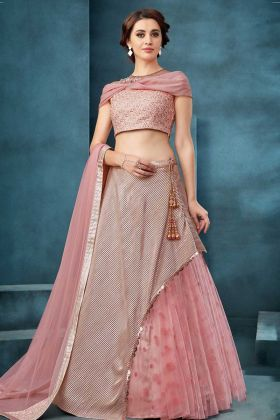 Fancy Crush And Net Baby Pink Lehenga Design