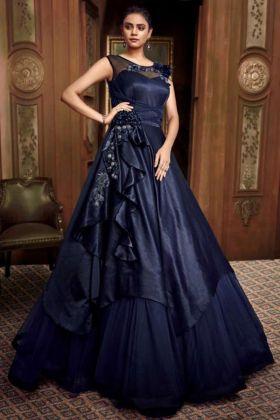 Fancy Designer Party Wear Net Gown Navy Blue Color