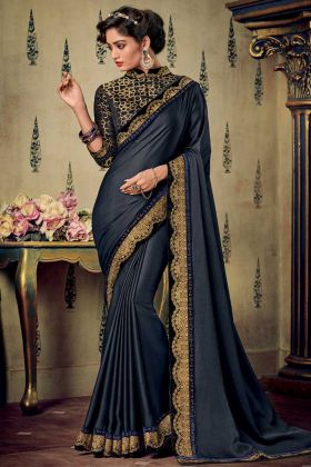 Fancy Fabric Designer Saree Embroidery Work In Teal Blue Color
