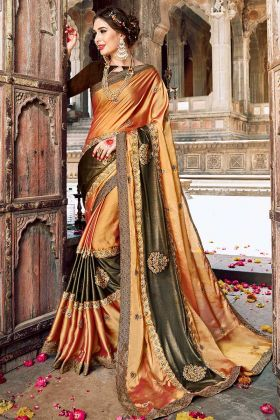 Fancy Fabric Embroidery Saree In Copper Gold Color