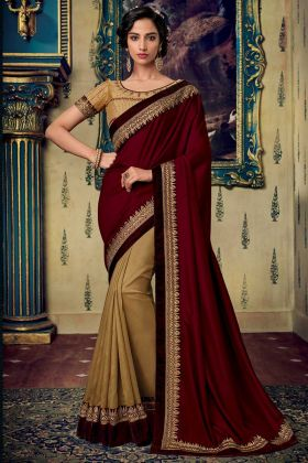 Fancy Fabric Half and Half Saree Embroidery Work In Maroon Color