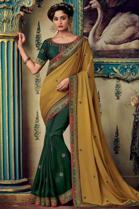 Fancy Fabric Half and Half Saree Embroidery Work In Yellow Color