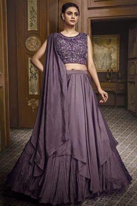 Fancy Fabric Lavender Color Reception Wear Lehenga Choli