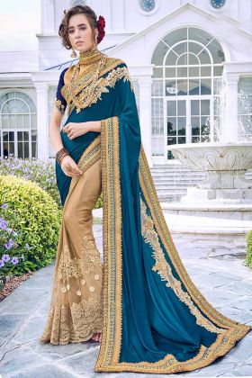 Fancy Fabric Party Wear Saree Heavy Embroidery Work In Multi Color