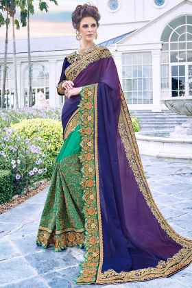Fancy Fabric Party Wear Saree Stone Work In Multi Color