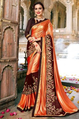 Fancy Fabric Wedding Saree Stone Work In Orange and Coffee Color