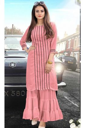 Fancy Georgette Wedding Kurti Pink Color
