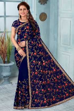 Fancy Heavy Designer Saree Navy Blue With Embroidered Blouse