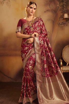 Fancy Jacquard Silk Designer Saree Maroon Color With Jacquard Work