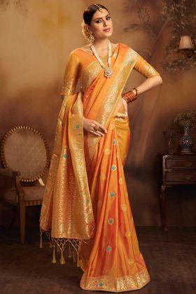 Fancy Jacquard Silk Festival Saree Weaving Work In Orange Color